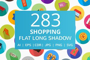 283 Shopping Flat Long Shadow Icons