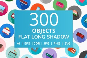 300 Objects Flat Long Shadow Icons