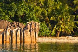 Tropical beach at Curieuse island