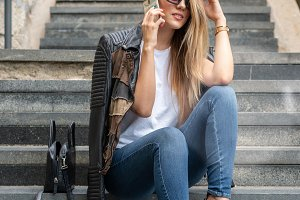fashion girl with smartphone