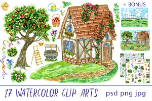 Cute house clip art set 4