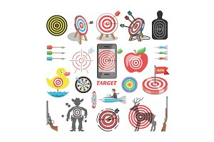 Target icon vector arrow in aim of dartboard and goal of success business strategy illustration set of sport darts game or shooting in apple isolated on white background