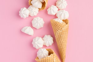 Sweets in ice cream cones