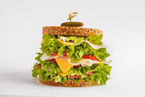 Big sandwich with meat, isolated