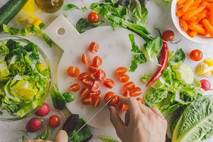 Process of making vegetarian salad
