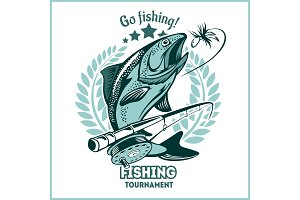 Trout fishing - logo illustration. Fishing emblem