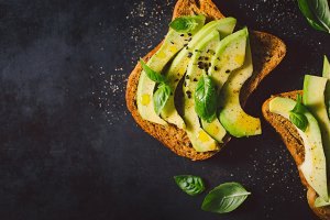 From above avocado toasts