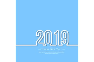 2019 white 3d numbers with shadow on blue background. Happy New Year greeting text, vector illustration.