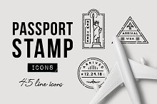 45 Passport Stamp Icons - Travel by  in Icons