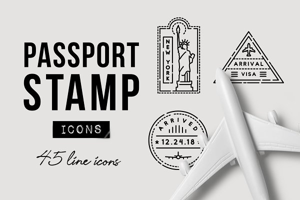 Icons: Hatch Design Workshop - 45 Passport Stamp Icons - Travel