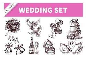 Wedding Hand Drawn Vintage Set