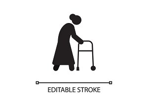Old woman going with walker silhouette icon
