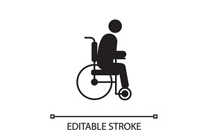 Disabled person in wheelchair silhouette icon