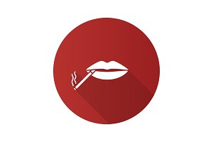 Cigarette in mouth flat design long shadow glyph icon