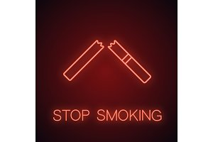 Broken cigarette neon light icon