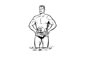 Man swimmer in swimming trunks. black and white outline