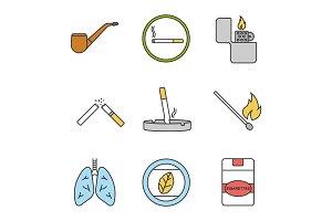 Smoking color icons set