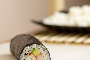 Japanese sushi roll with rice