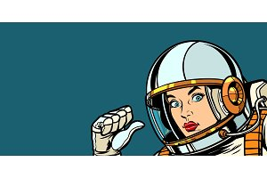astronaut woman fist hand pointing at herself