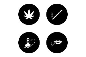 Smoking glyph icons set