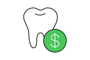 Dental services price color icon