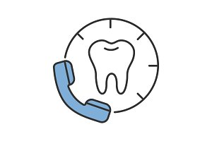 Making appointment with dentist color icon