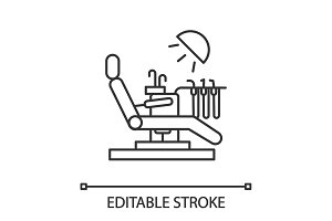 Dental chair linear icon