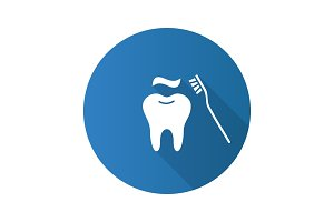 Correct teeth brushing flat design long shadow glyph icon