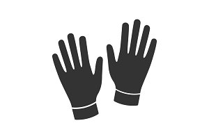Medical or household gloves glyph icon