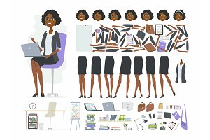 African businesswoman - vector cartoon people character constructor