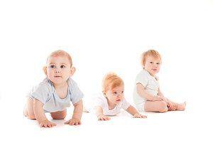 Threee babies isolated