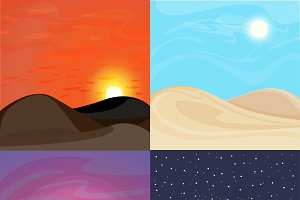 Colorful Desert Landscapes Set