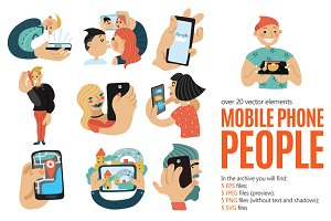 People with Mobile Phones Set