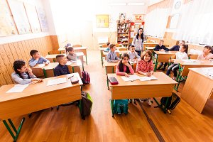 Schoolchildren in the classroom