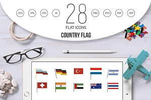 Country flag icon set, flat style