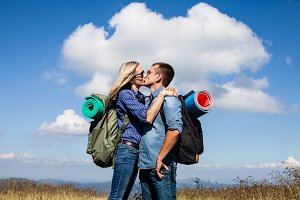 Romantic kiss while traveling