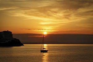Beautiful gold and orange sunset
