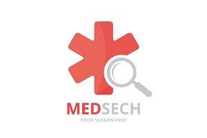 Vector ambulance and loupe logo