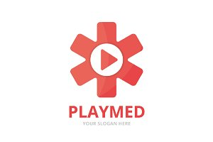 Ambulance and play button logo