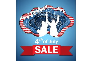 Independence Day Sale vector illustration.