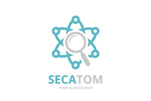 Vector atom and loupe logo