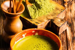 Matcha tea still life