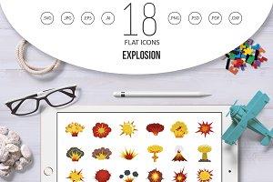 Explosion icon set, flat style