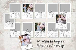 2019  5x7 Calendar Template