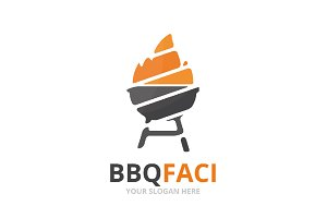 Vector bbq logo combination.