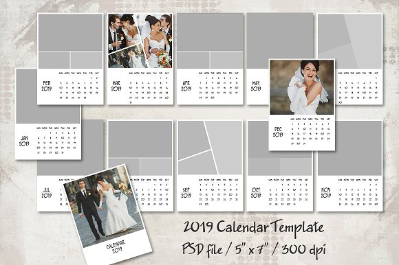 2019 Calendar Template 5x7 Card Templates Creative Market