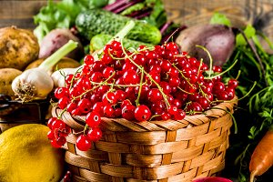 Fresh fruit, berry and vegetables
