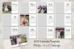"""2019 Calendar Template 5""""x7"""""""