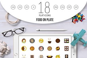 Food on plate icon set, flat style