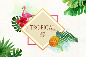 Tropical Bliss Watercolor Leaves Set